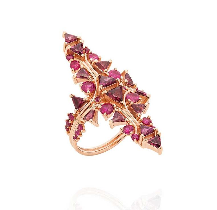Fernando Jorge Fusion Red Arrow cocktail ring in rose gold with rubies and rhodolites (£2,900).