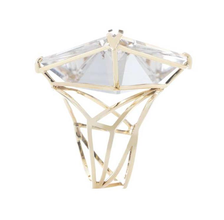 Holts London Holt cocktail ring in gold, set with a hand-carved quartz (£2,750).