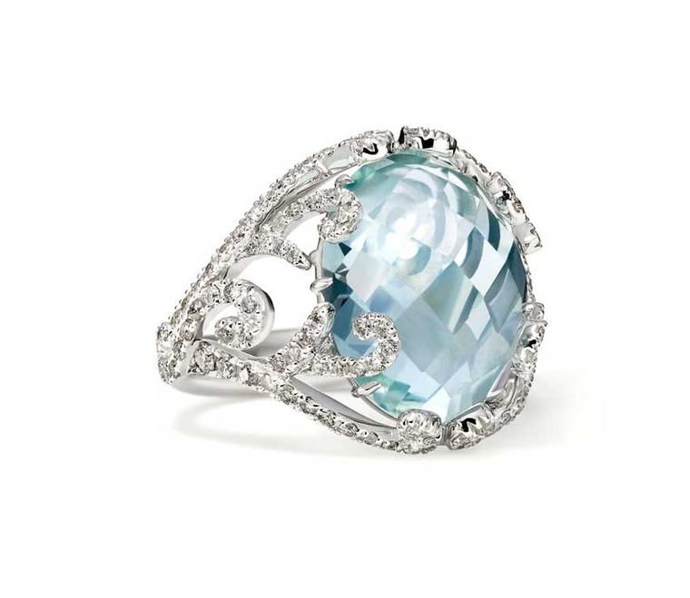 Sarah Ho for William & Son cocktail ring in white gold with a faceted cabochon aquamarine and diamonds (£4,800).