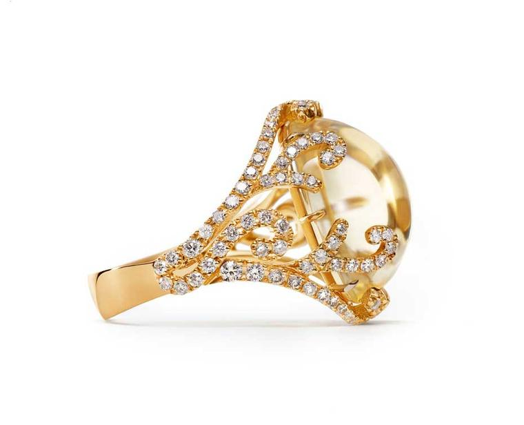 Sarah Ho for William & Son citrine cocktail ring in rose gold