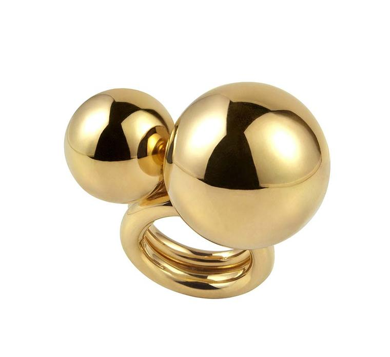 Elena Votsi Sun cocktail rings in gold (small: £2,915; large: £3,960; available at Dover Street Market, London).