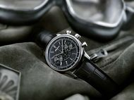 Powered by an Alpina calibre visible through the transparent caseback, the 41.5mm Alpina 130 Heritage Pilot Chronograph watch in stainless steel is also available with a black dial (£2,100).