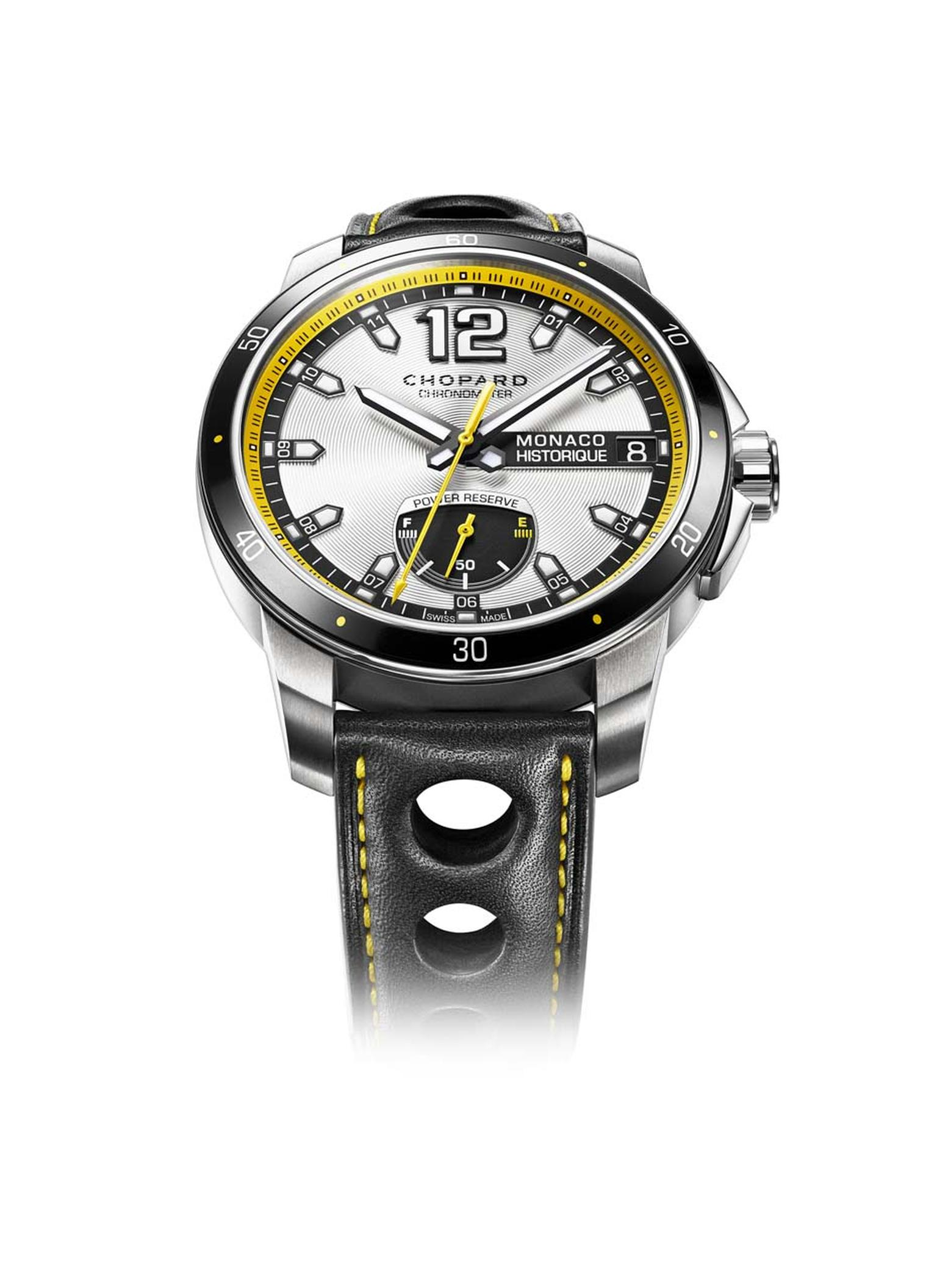 Chopard's sporty Grand Prix de Monaco Historique watch collection includes this racy GPMH Power Control watch, with a power-reserve indicator in the form of a petrol gauge at 6 o'clock. The powerful engine is a self-winding Chopard COSC-certified chronome