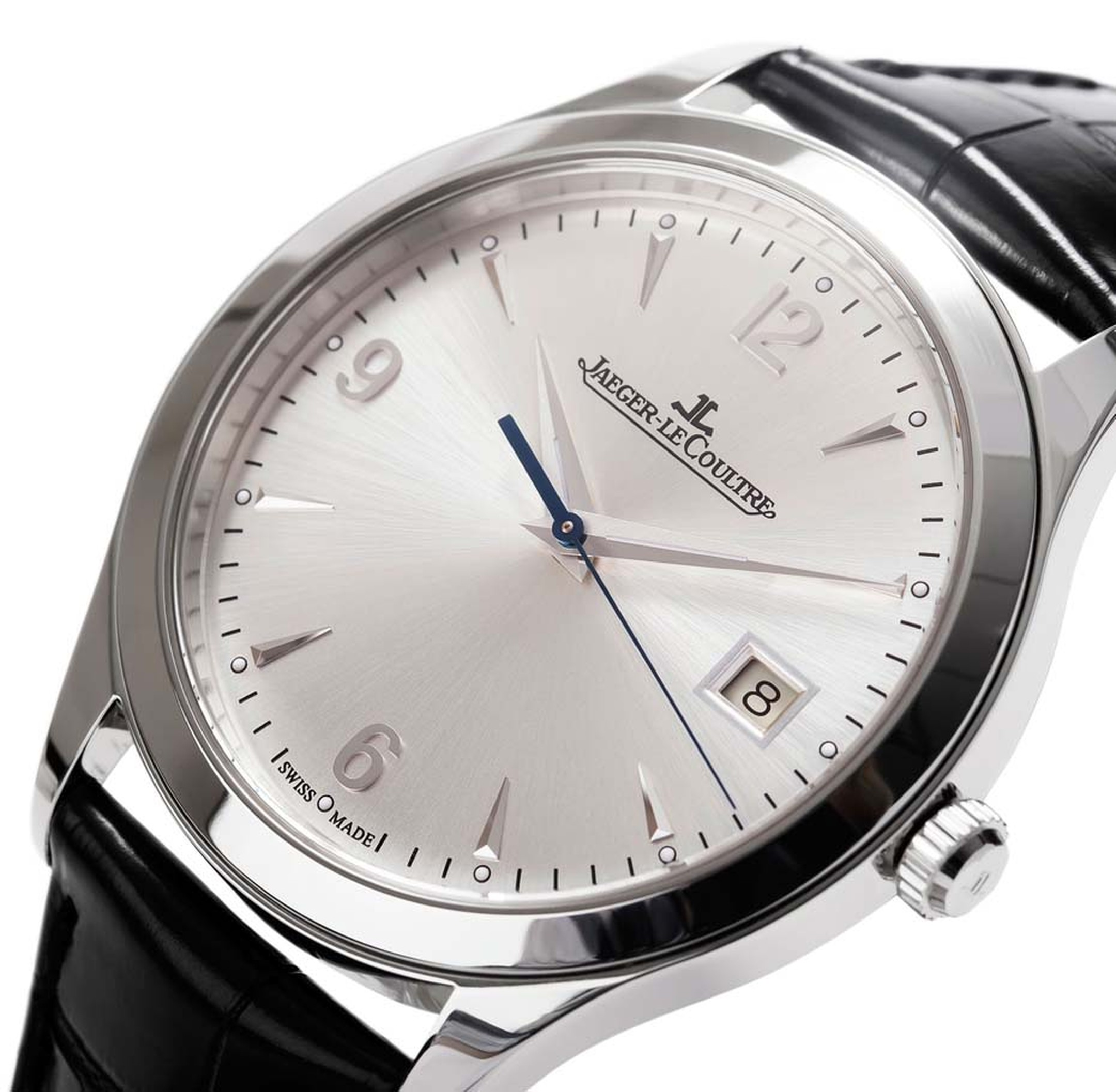 Jaeger-LeCoultre Master Control watch features pure lines and a sober dial, which includes a date window at 3 o'clock (£4,900).