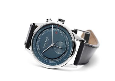 The cult German brand Nomos launched the Zurich Worldtimer Trueblue watch with 24 time zones that can be changed by a simple click. In spite of the technical complexity, Nomos has retained the company's minimalist Bauhaus aesthetic (£3,850).