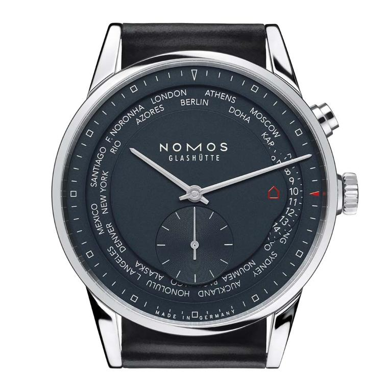 The Nomos Zurich Worldtimer Trueblue watch features 24 time zones on its dial, which can be changed by a simple click. The 39.9mm stainless steel case houses Nomos' innovative swing system calibre, which can be admired through the caseback (£3,850).