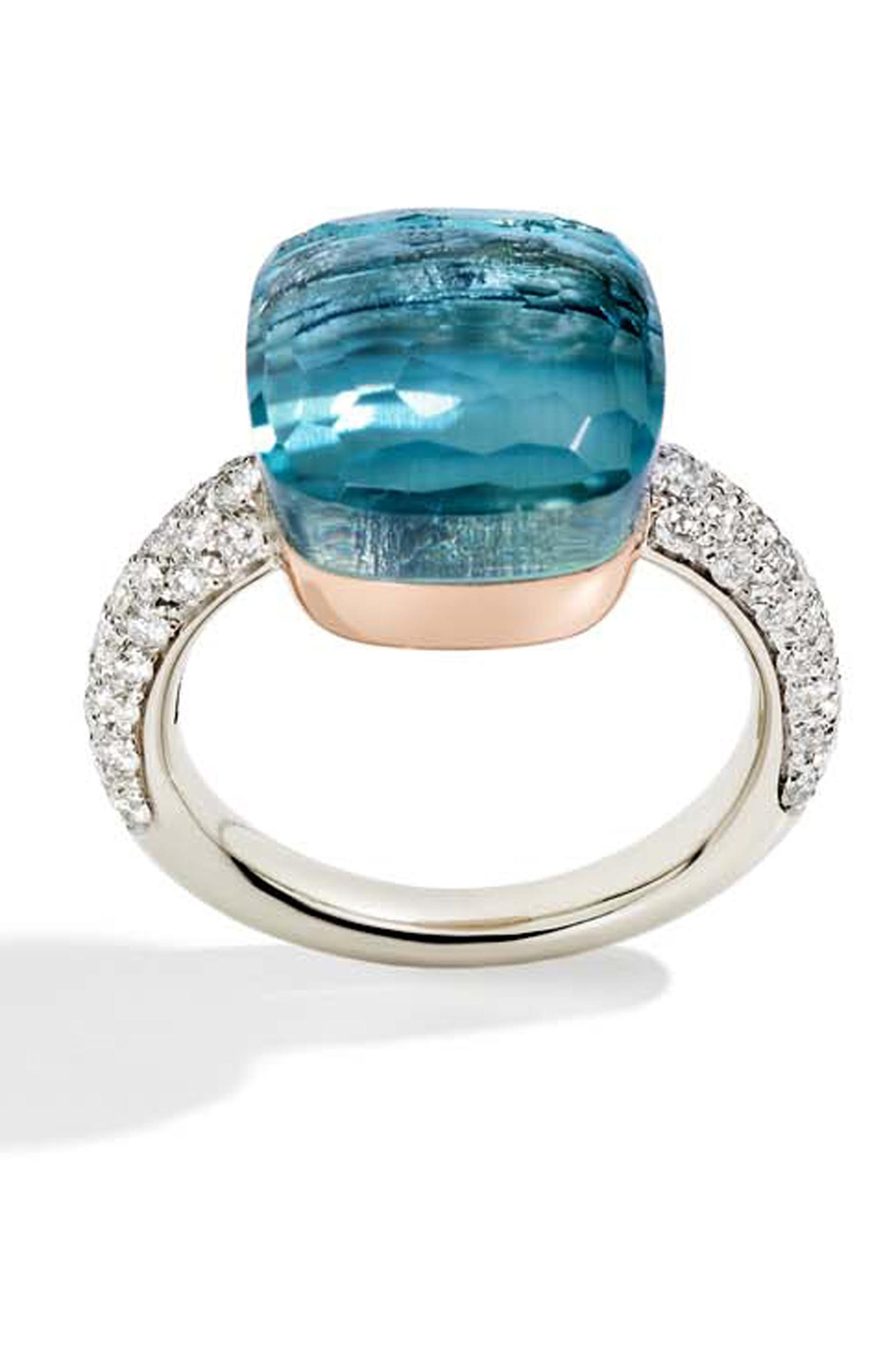 Pomellato Nudo ring in white gold and diamonds, set with a blue topaz.