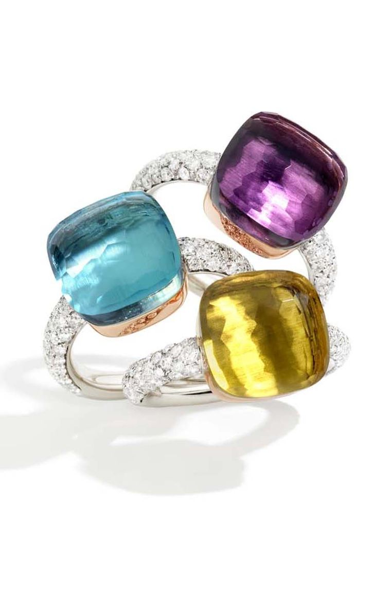 Pomellato Nudo ring collection diamond rings can be stacked for a very personal blend of colours, or worn individually for a minimalist look.