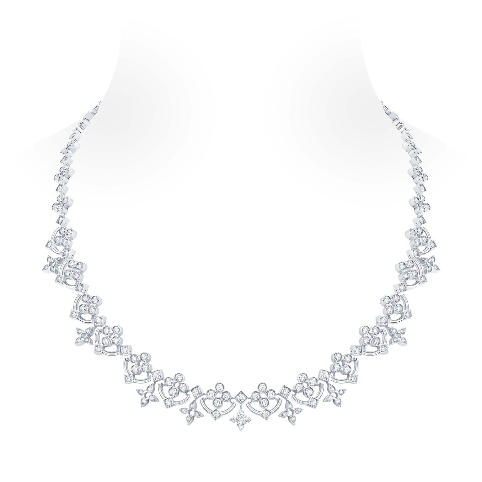 The most dramatic piece in Louis Vuitton's new Dentelle de Monogram jewellery collection is the shorter necklace in a classical style that, in ever increasing sizes, weaves together garlands of diamond flowers and stars that lead to a 0.50 carat diamond,