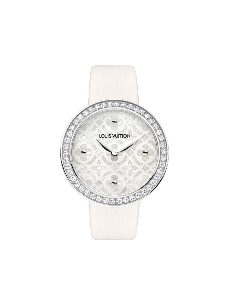 Louis Vuitton Dentelle de Monogram watch in white gold, set with diamonds on the case and dial.