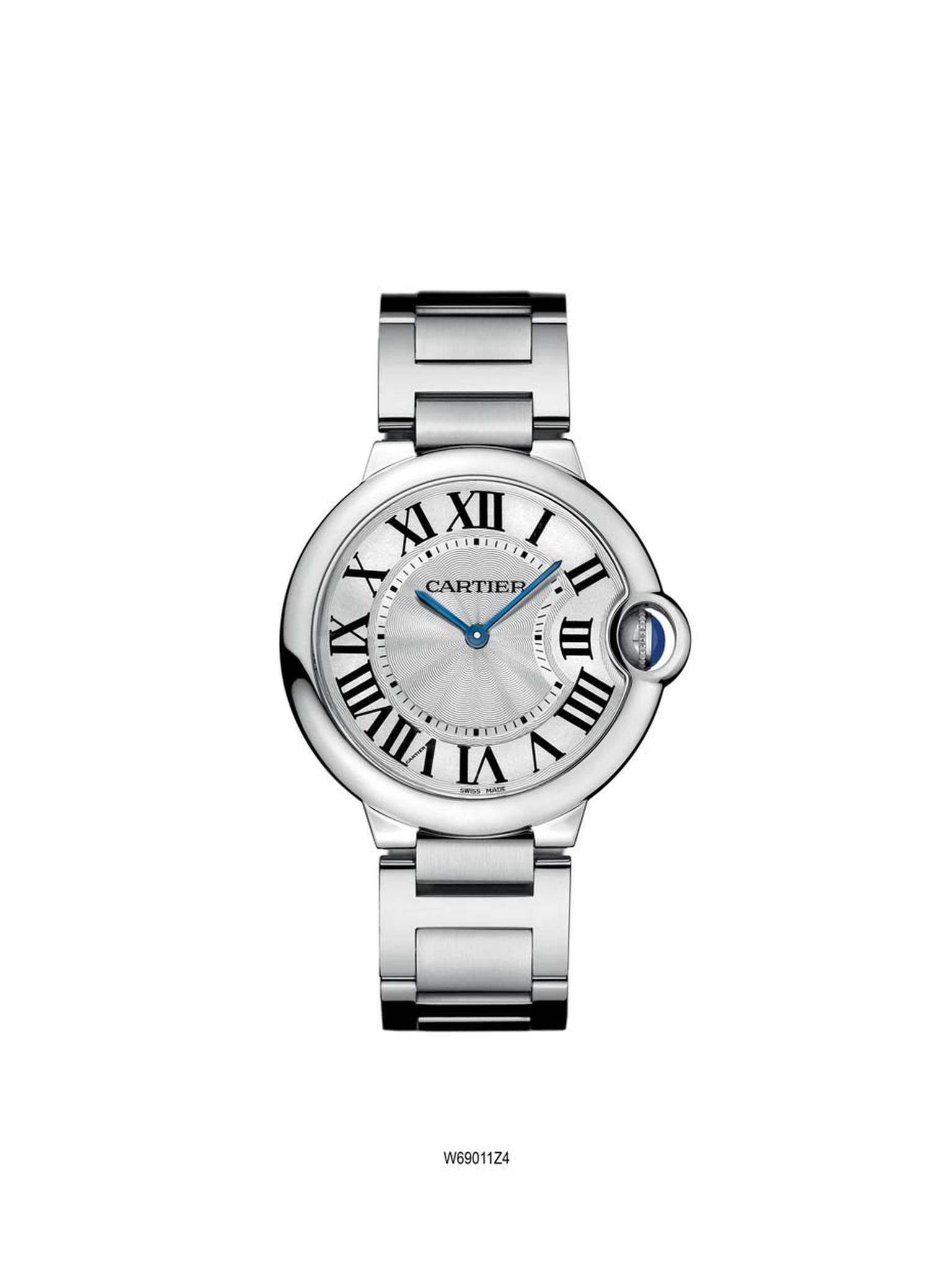 The Ballon Blue de Cartier, released in 2007, in stainless steel features a guilloché dial with large Roman numerals (£3,850).