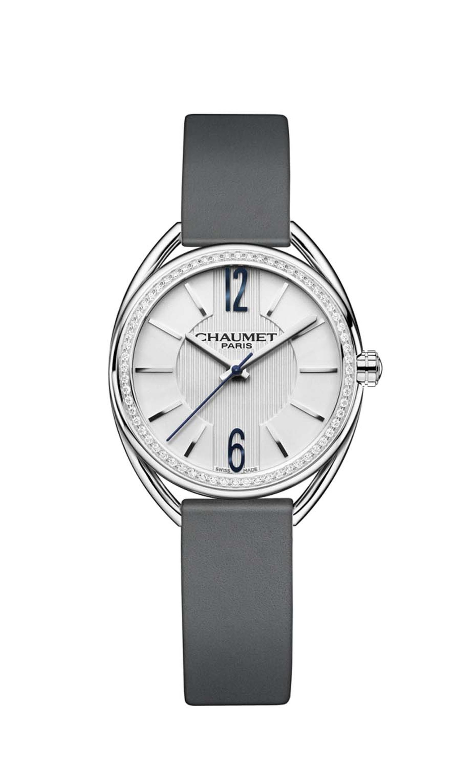 The 27mm Chaumet Liens watch in stainless steel version is enhanced with 56 brilliant-cut diamonds on the bezel, and the white dial, like a beautifully starched white shirt, features vertical pleats in the centre (£4,650).