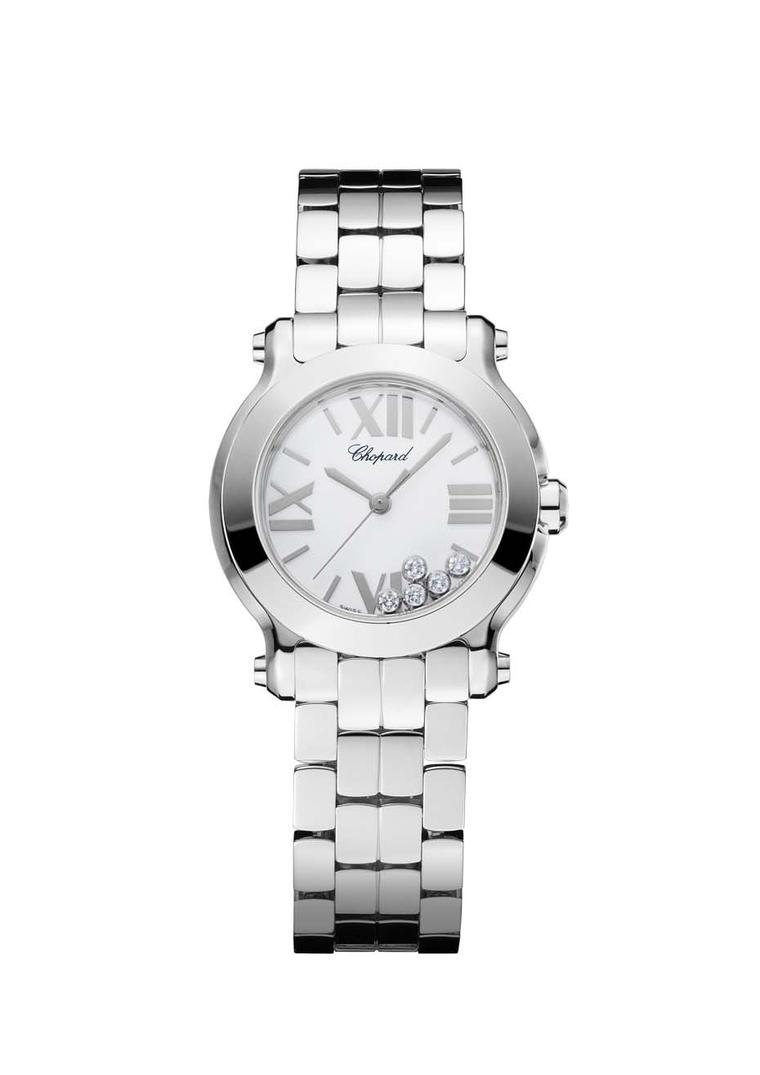 Chopard's Happy Sport Mini watch in stainless steel, with the hallmark five floating diamonds that dance in time to the wearer's motions, is sporty, practical and sexy (£4,620).