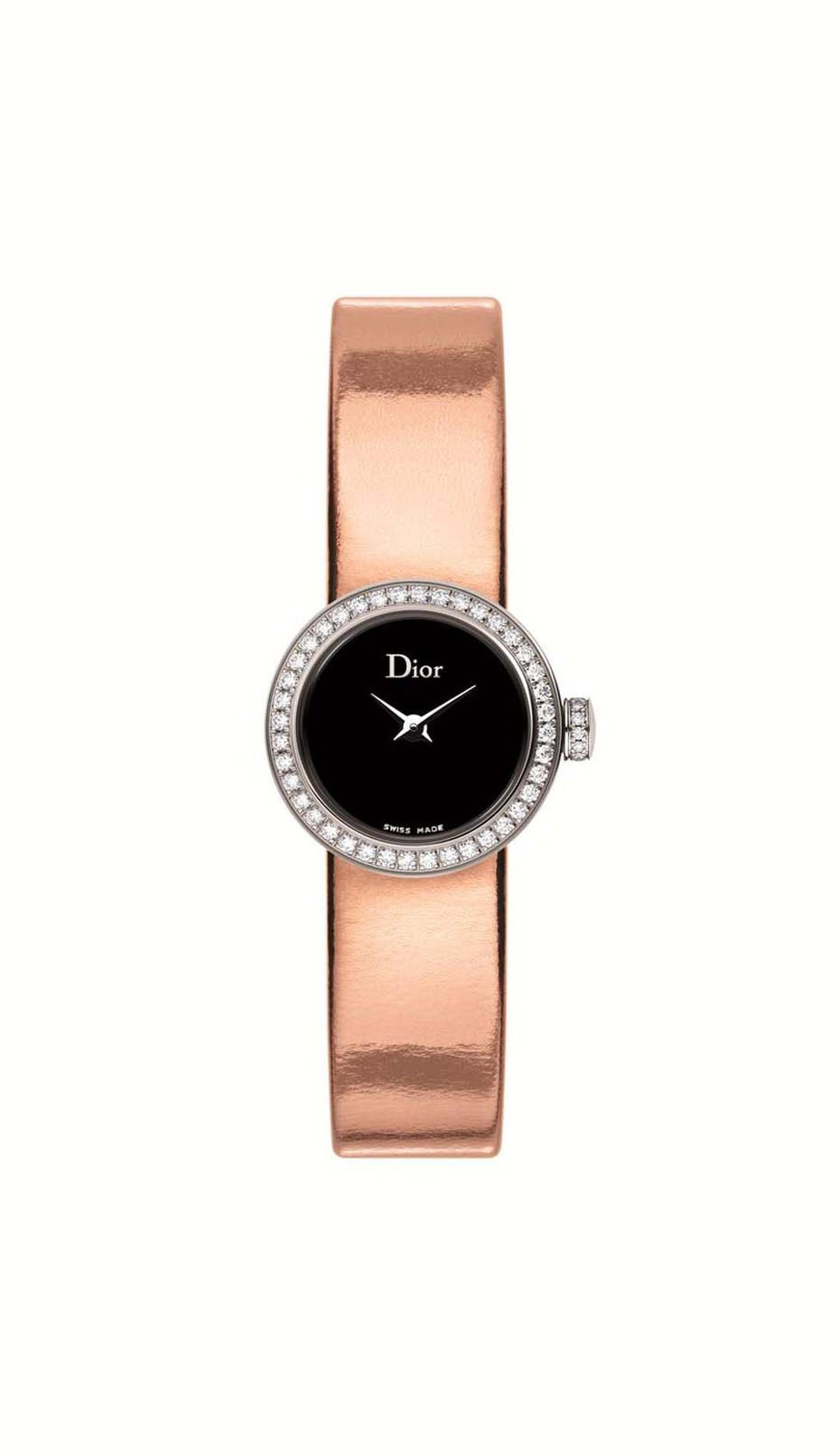 This La Mini D de Dior watch measures just 19mm across. With an inky black mother-of-pearl dial set alight with diamonds on the bezel and crown, a sumptuous metallic leather strap adds the finishing touch (£2,900).