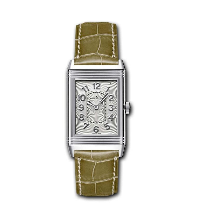 The curved stainless steel case of the Jaeger-LeCoultre Grande Reverso Lady Ultra Thin watch is a mere 7.2mm thick and features a silvered guilloché and sunray brushed dial that reflects the light in all directions (£3,350).