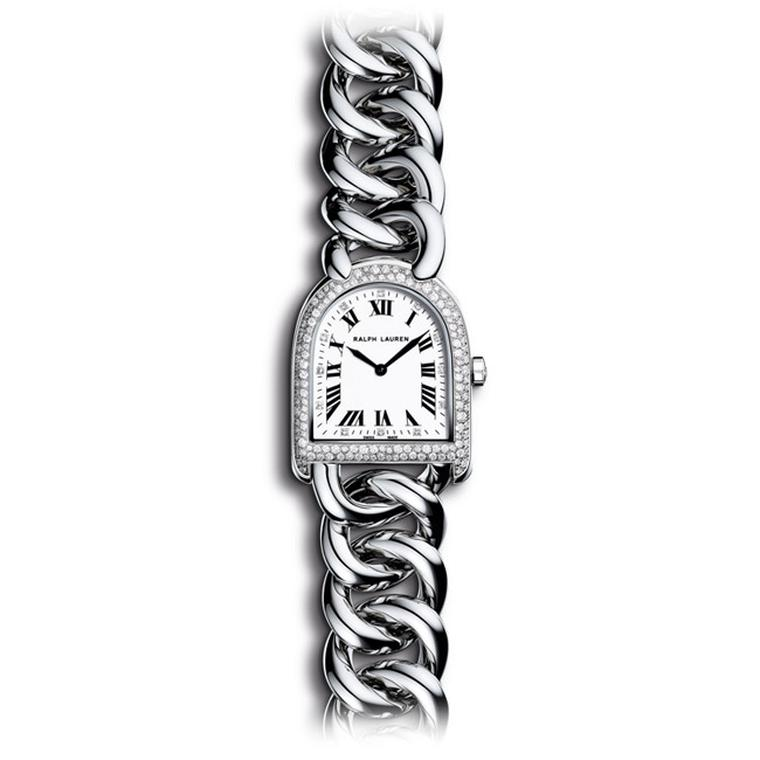The new Ralph Lauren Petite Link Stirrup watch reflects the latest trend for smaller-sized women's watches. This model features a stainless steel case with a snow-set diamond bezel and accompanying link bracelet (£4,250).