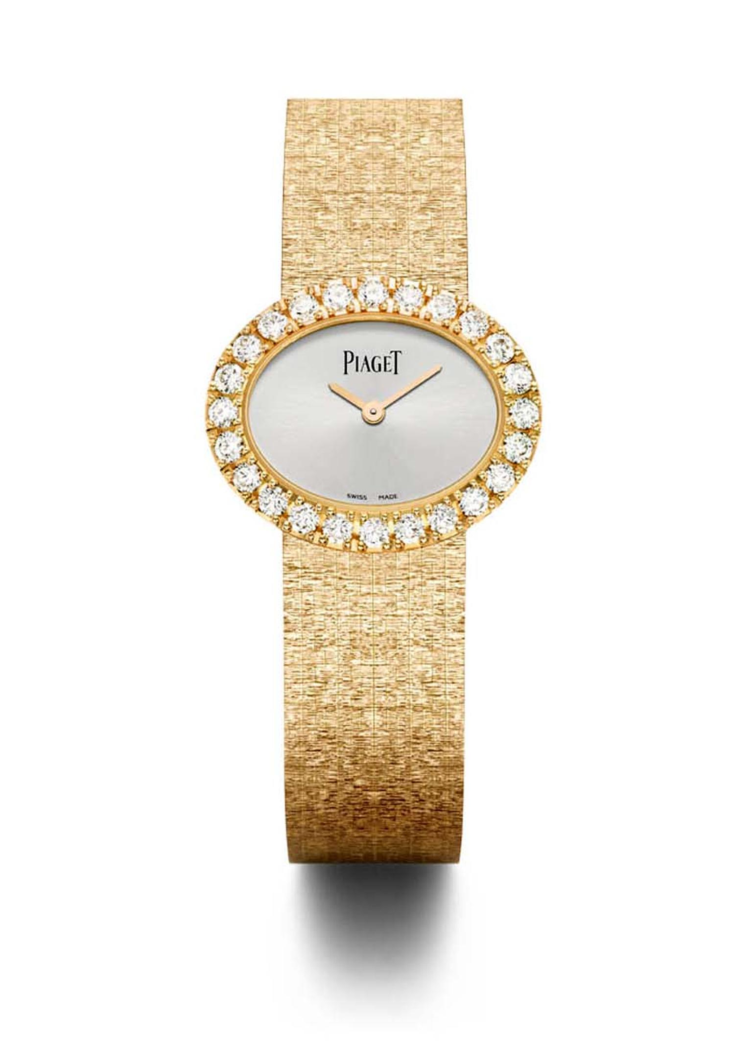 The Piaget watch gold bracelet is a work of goldsmithing prowess made to resemble gold textured fabric, which shimmers like a silk ribbon on the wrist.