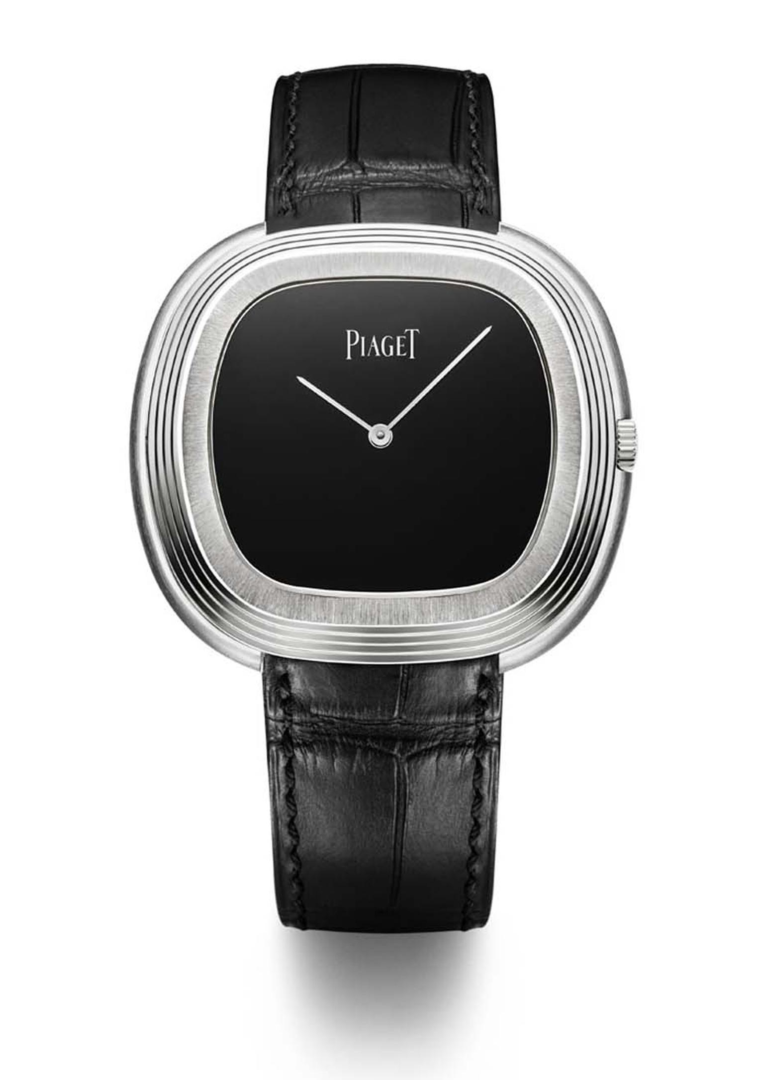 The Piaget Black Tie vintage watch has retained the bold cushion-shaped case of its predecessor, a watch that was purportedly worn and admired by Andy Warhol in the 1960s.