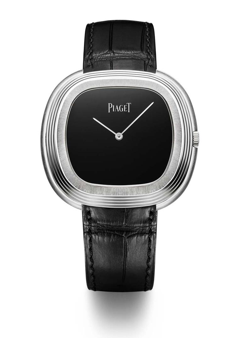 The Piaget Black Tie Vintage watch, new for 2015, has retained the bold cushion-shaped case of its predecessor, a timepiece that was worn and admired by Andy Warhol in the 1960s.