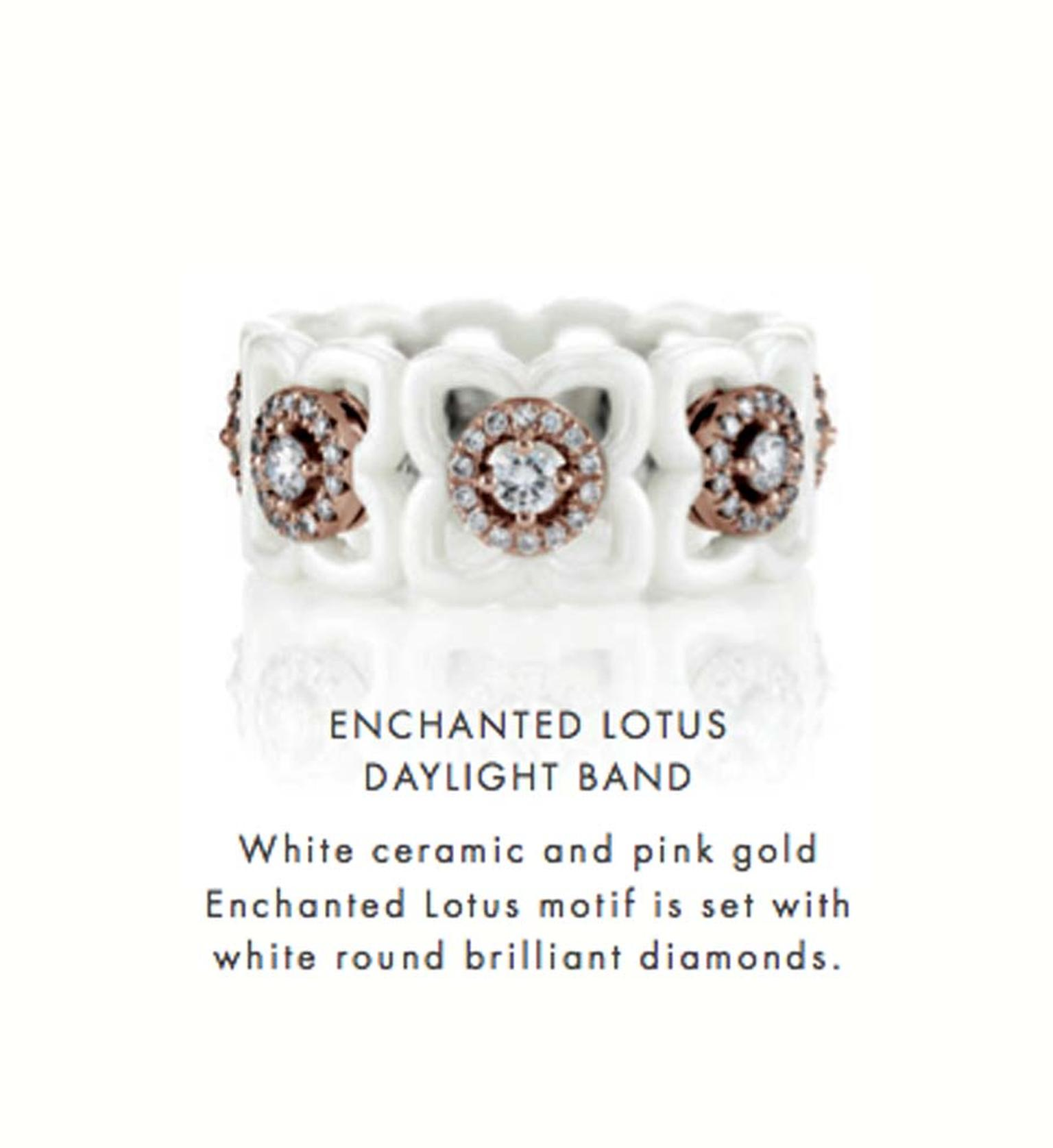 De Beers Enchanted Lotus Daylight ring featuring white ceramic and pink gold and round diamonds.