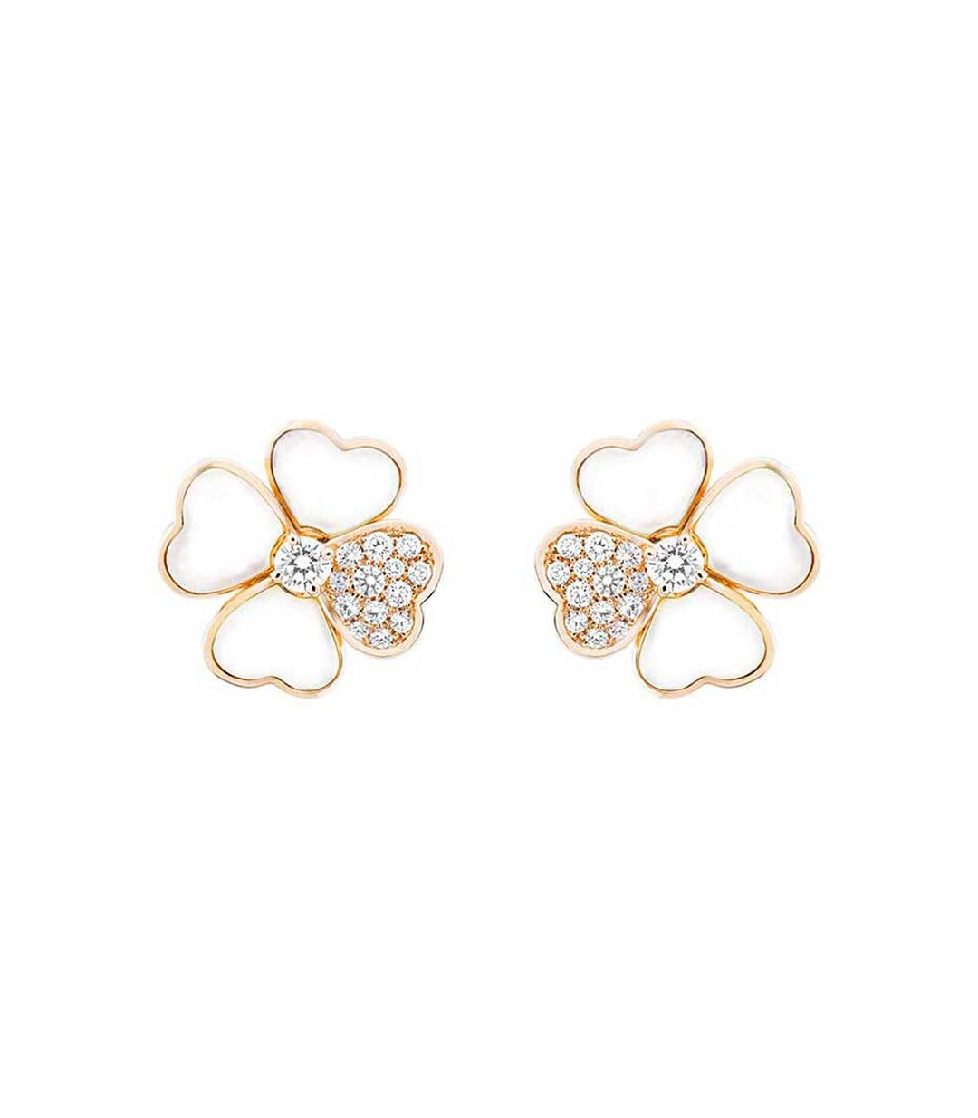 Van Cleef & Arpels Cosmos earrings in rose gold with brilliant-cut diamond buds surrounded by white mother-of-pearl and diamond petals (£13,700).
