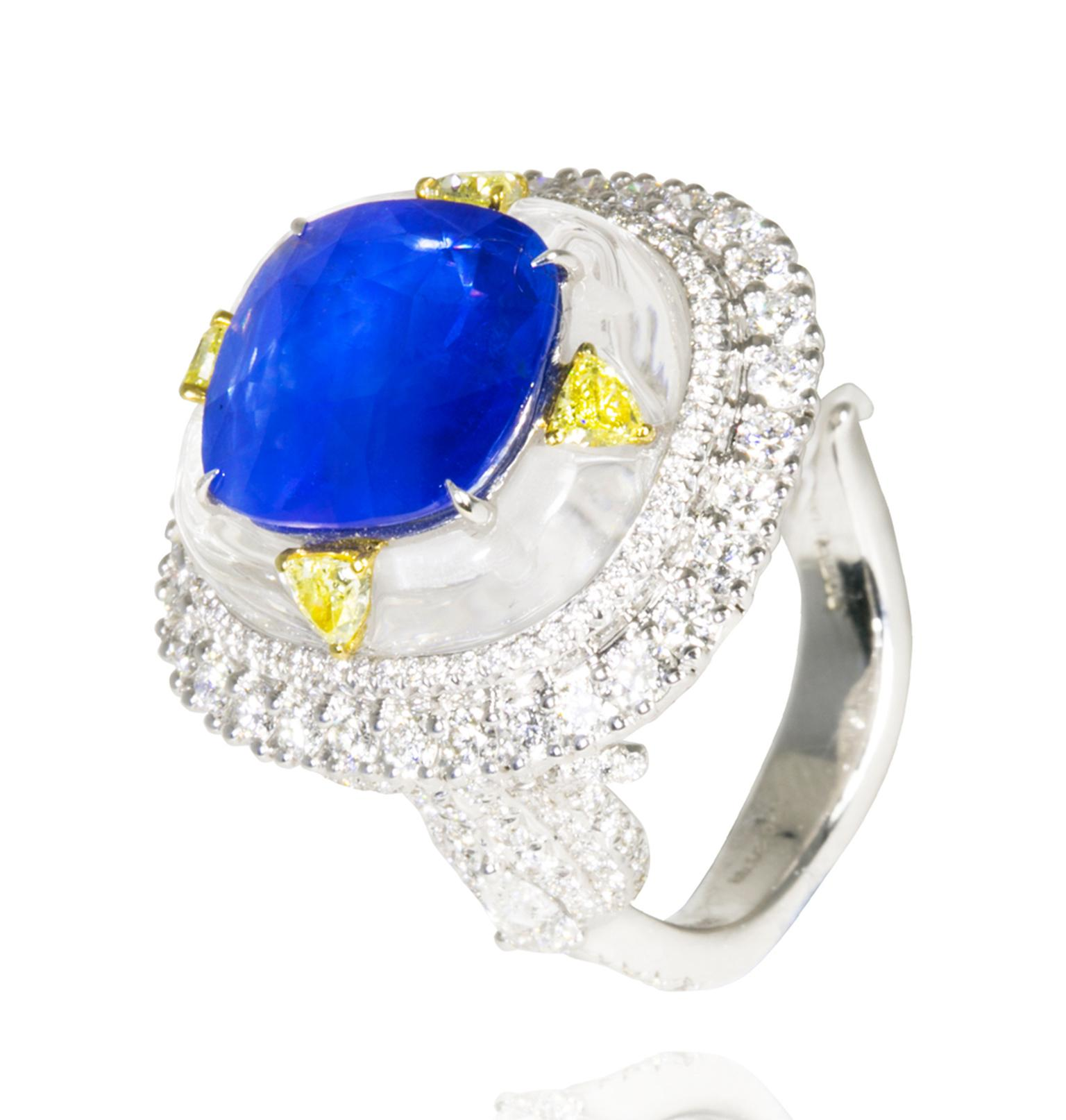 For a mere £94,800, you can own the Amrapali diamond ring featuring a centre sapphire set into rock crystal and surrounded with four yellow diamonds which are further outlined by a plethora of white diamonds.