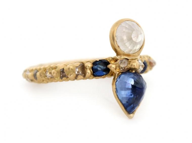 Polly Wales Crowned Moon Beetle ring, set with a white rose-cut diamond above a pear-shaped rose-cut sapphire (£6,380).