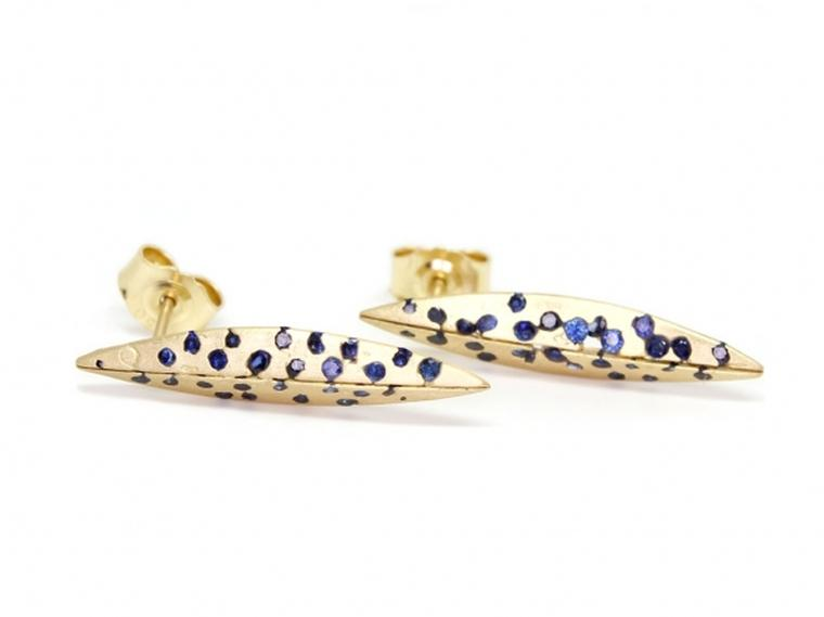 Polly Wales Swallows Dive gold and sapphire earrings (£2,380).