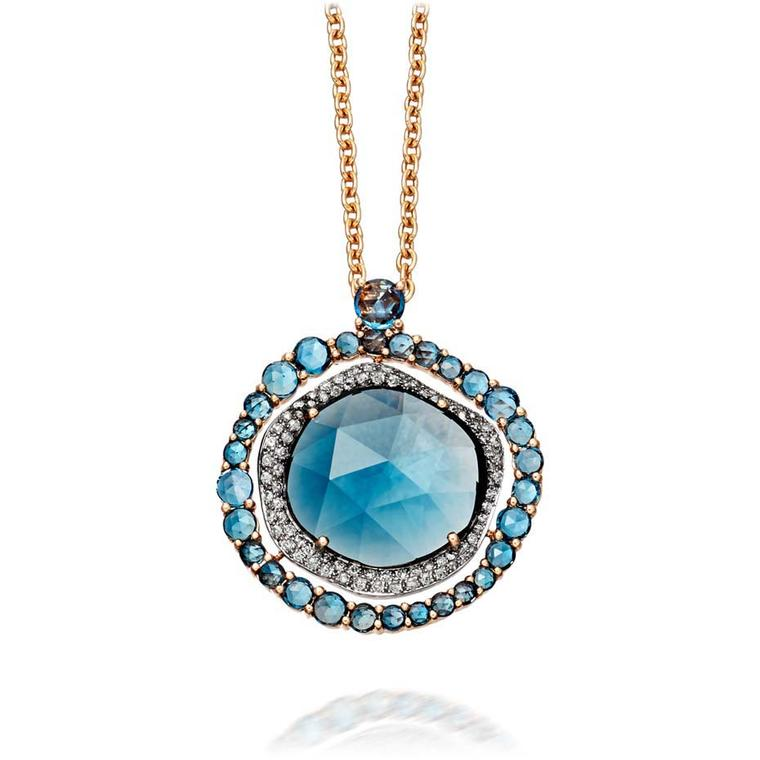 Astley Clarke FAO necklace with a 12.50ct rose-cut London blue topaz surrounded by molten pavé grey diamonds (£5,950).