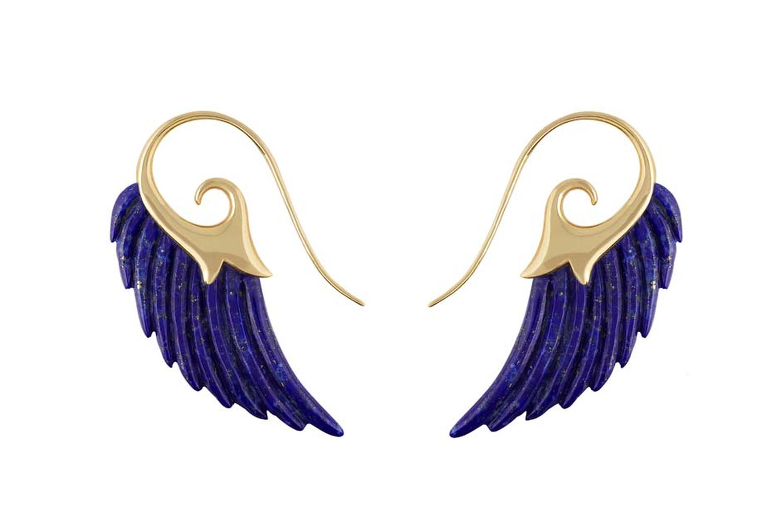 Noor Fares Fly Me to the Moon collection lapis lazuli earrings with internal gold flecks.