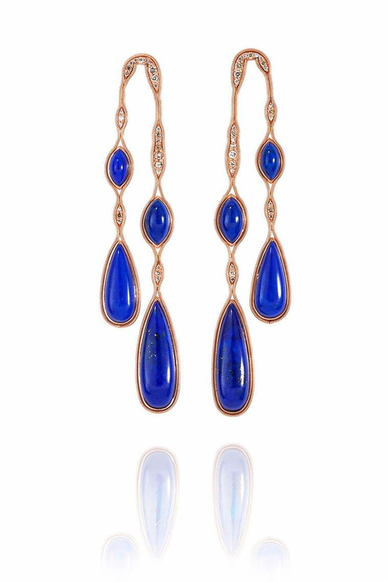 Fernando Jorge Fluid earrings in rose gold, lapis lazuli and diamonds (£8,050).