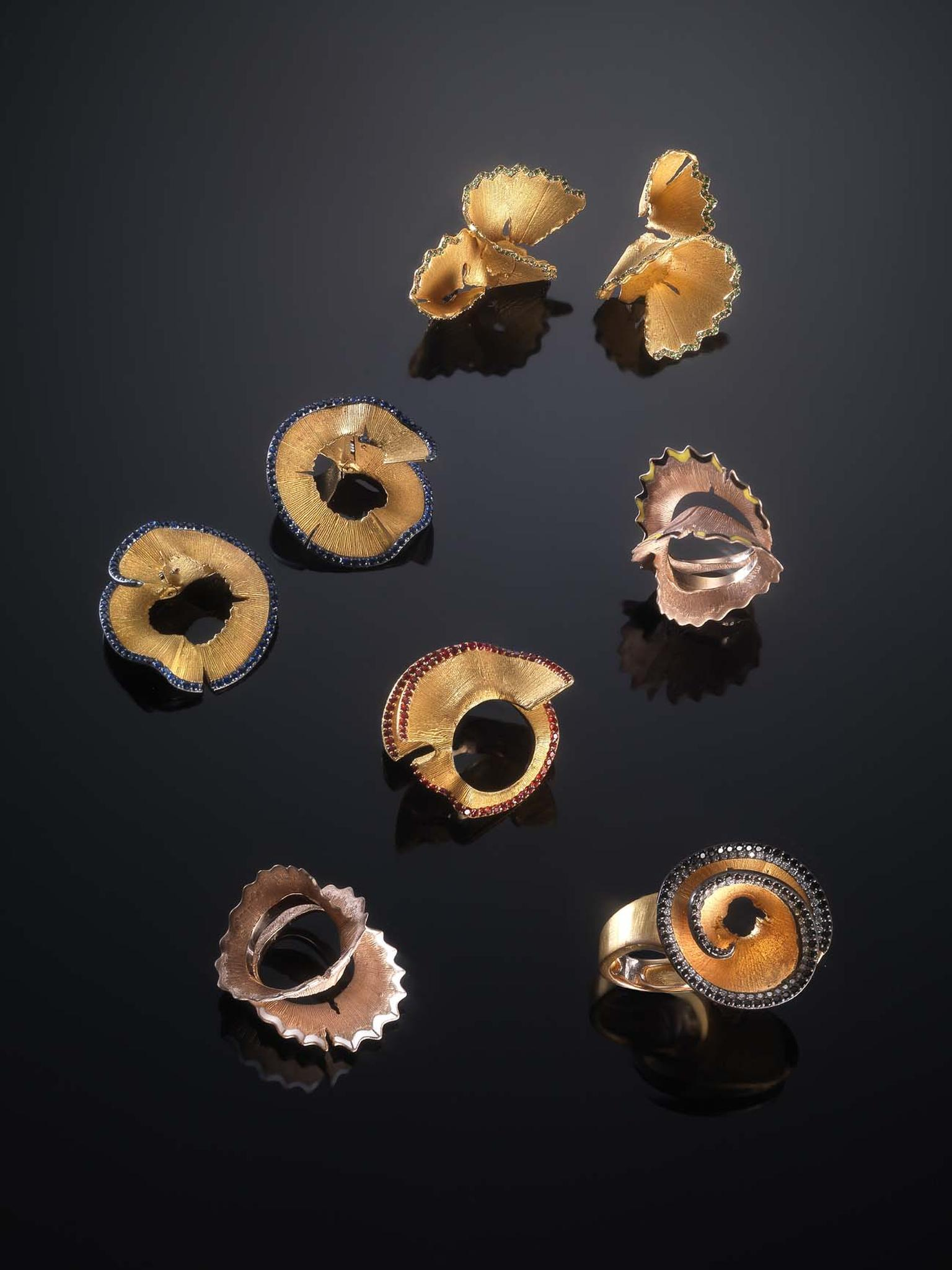 The new Pencil Shavings jewellery collection by Luz Camino is inspired by the humble wood shavings produced after sharpening a pencil. Crafted from gold with details in enamel and precious stones, the collection is on show now at Bergdorf Goodman, New Yor
