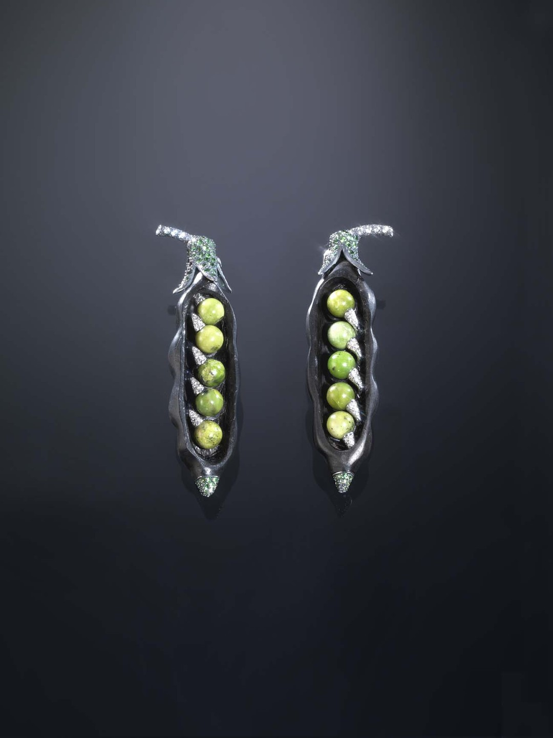 One-of-a-kind Luz Camino Peas in a Pod earrings in an ebony cocoon with turquoise, tsavorites, diamonds, silver and gold.
