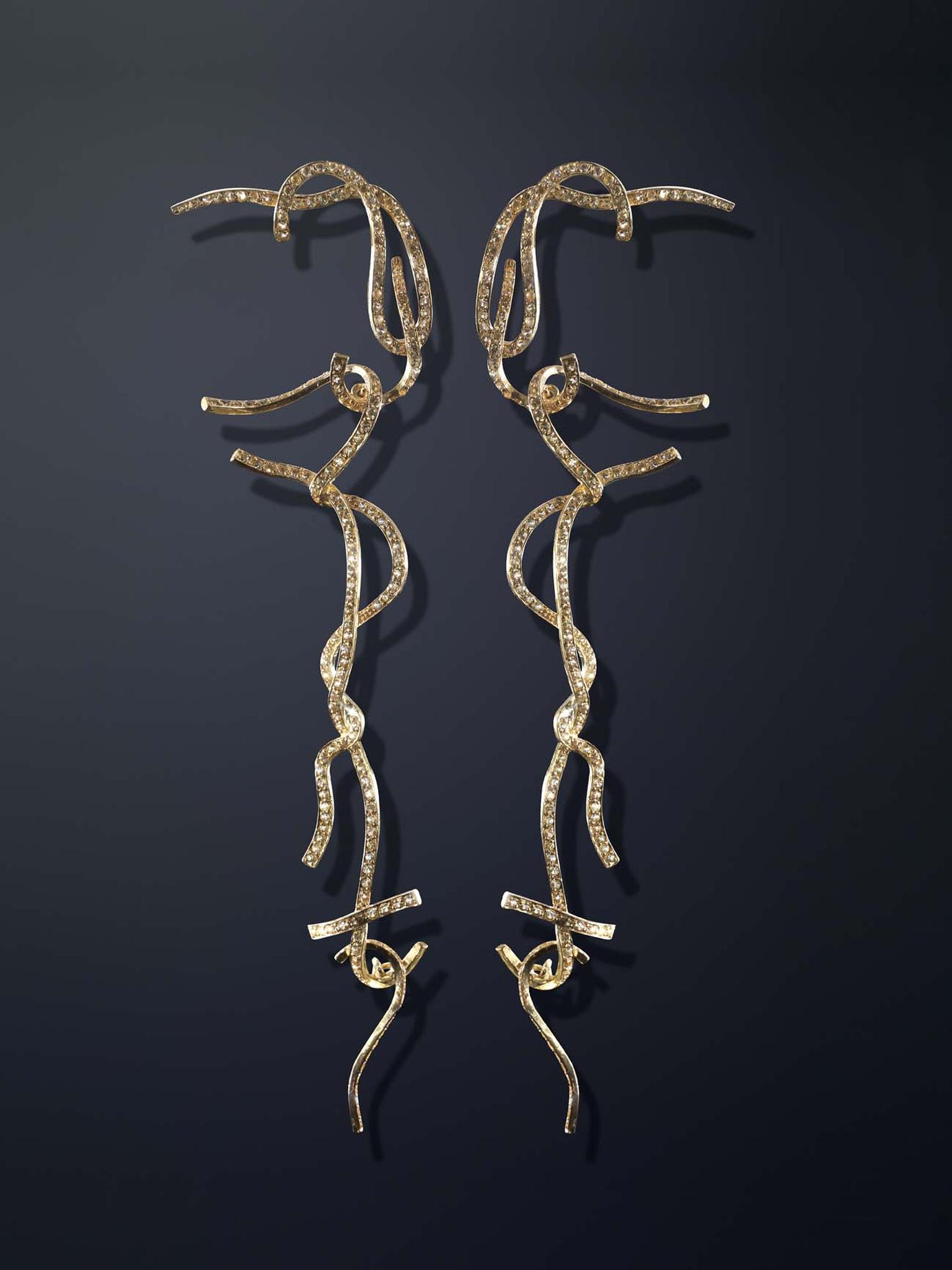 Luz Camino Shoestring Potato gold earrings with sapphires. Limited edition of 20.