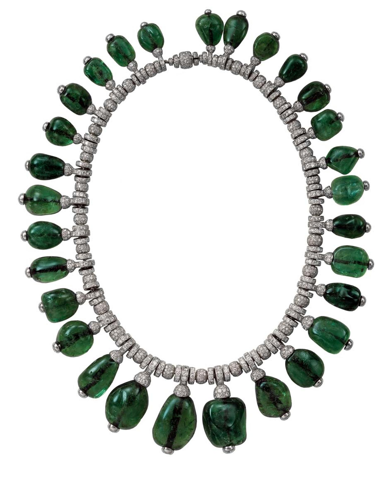 A Cartier cabochon emerald and diamond necklace, commissioned by Merle Oberon in 1938 - part of the Denver Art Museum's Brilliant: Cartier in the 20th Century exhibition, which runs until 15 March 2015. © Cartier.