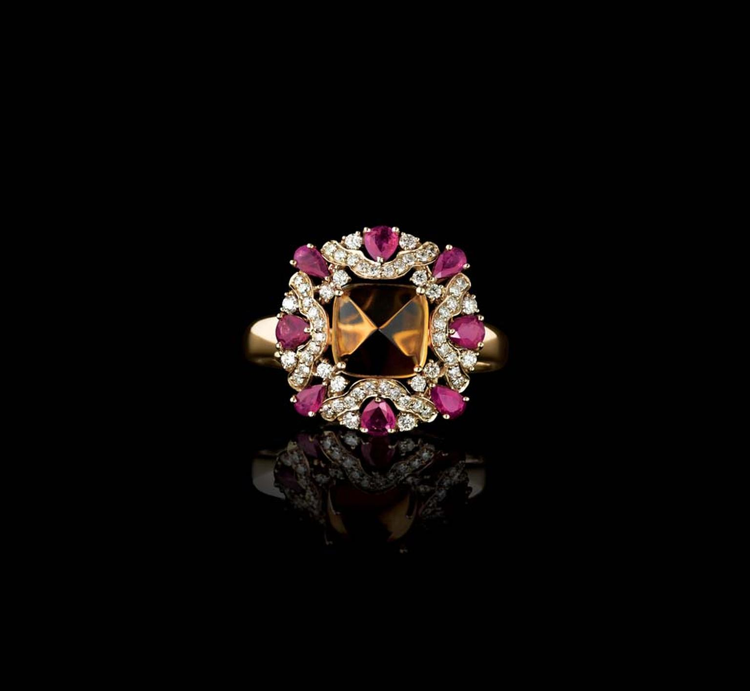 Farah Khan for Tanishq citrine cocktail ring with rubies and diamonds set in yellow gold.