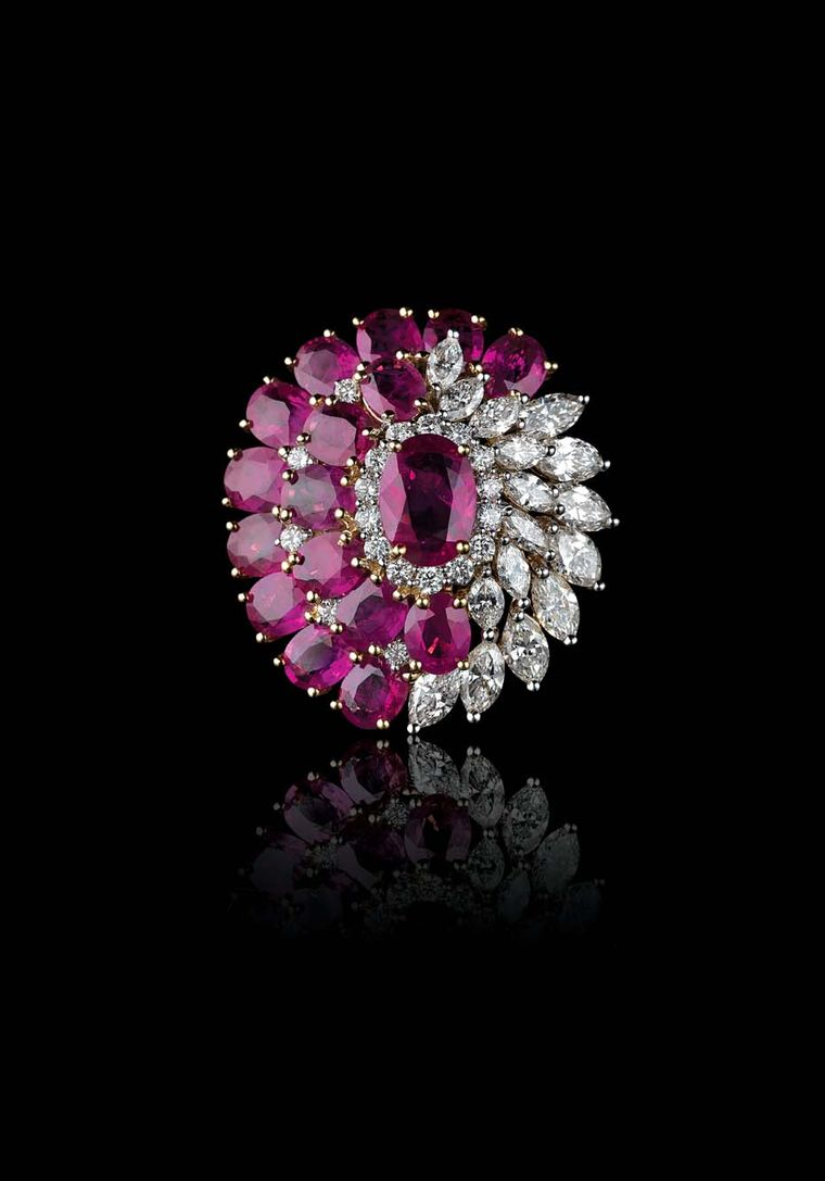 Farah Khan for Tanishq ruby and diamond cocktail ring set in yellow gold.