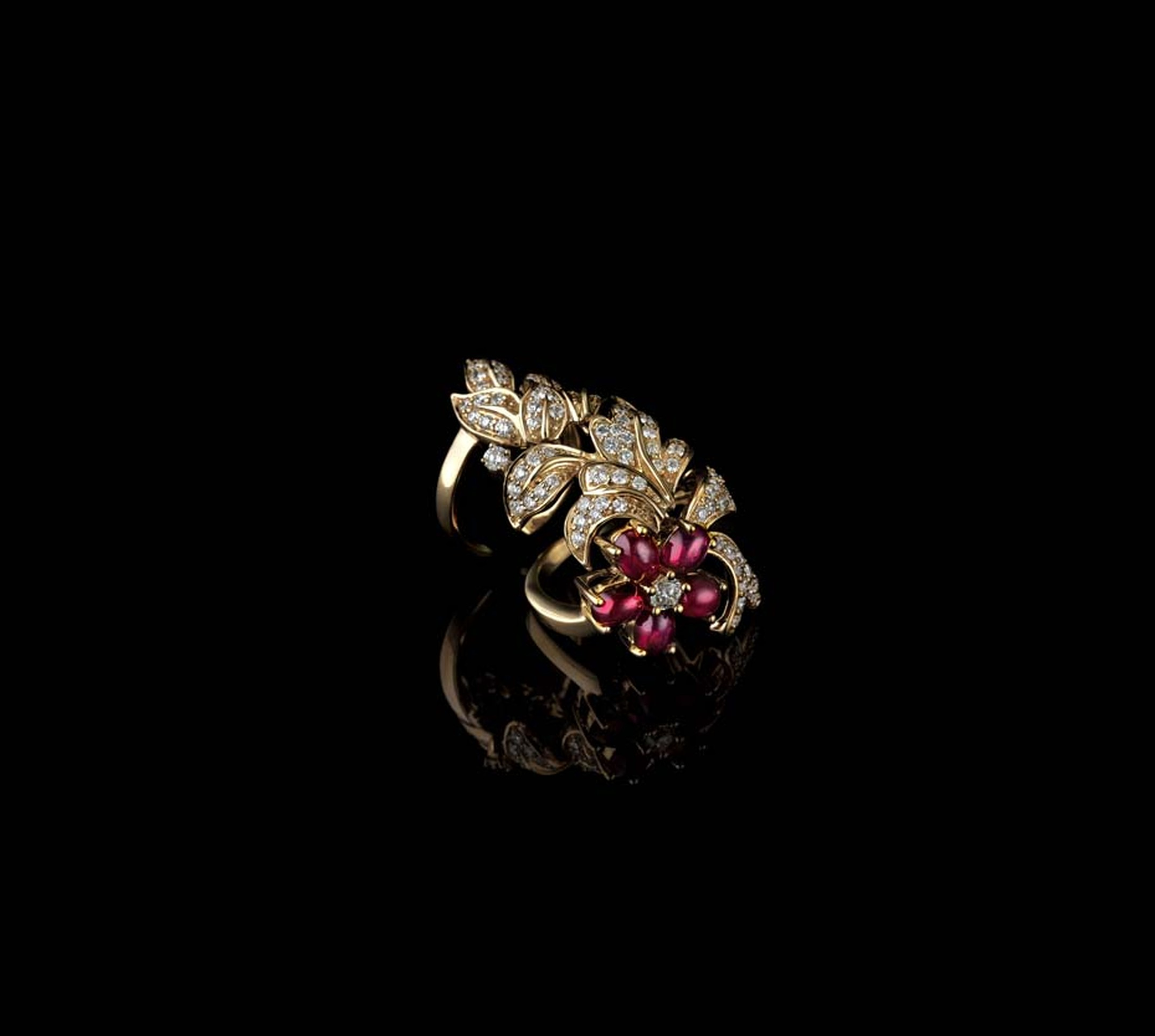 Farah Khan for Tanishq floral motif ruby ring with diamonds set in yellow gold.