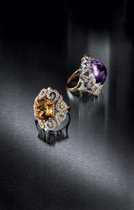 Farah Khan for Tanishq amethyst and citrine cocktail rings with diamonds set in yellow gold.