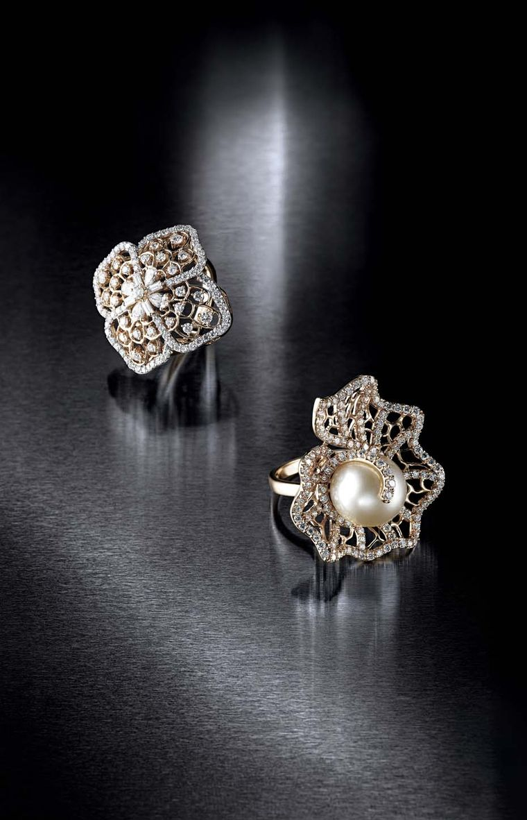 Farah Khan for Tanishq diamond rings. Pictured on the right is an all-diamond Jaali (meshed) ring with a pearl centre accented with diamonds, while on the left is an all-diamond floral ring set in yellow gold.