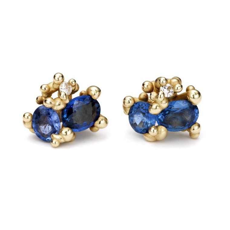 Ruth Tomlinson gold stud earrings with sapphires and diamonds (£680).