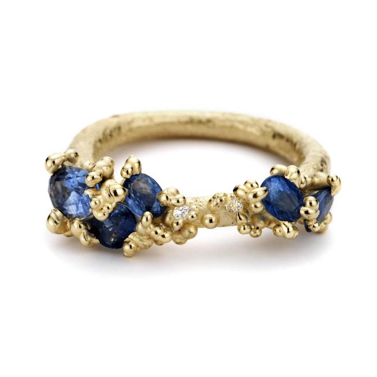 Ruth Tomlinson gold ring with sapphires and diamonds (£1,850).