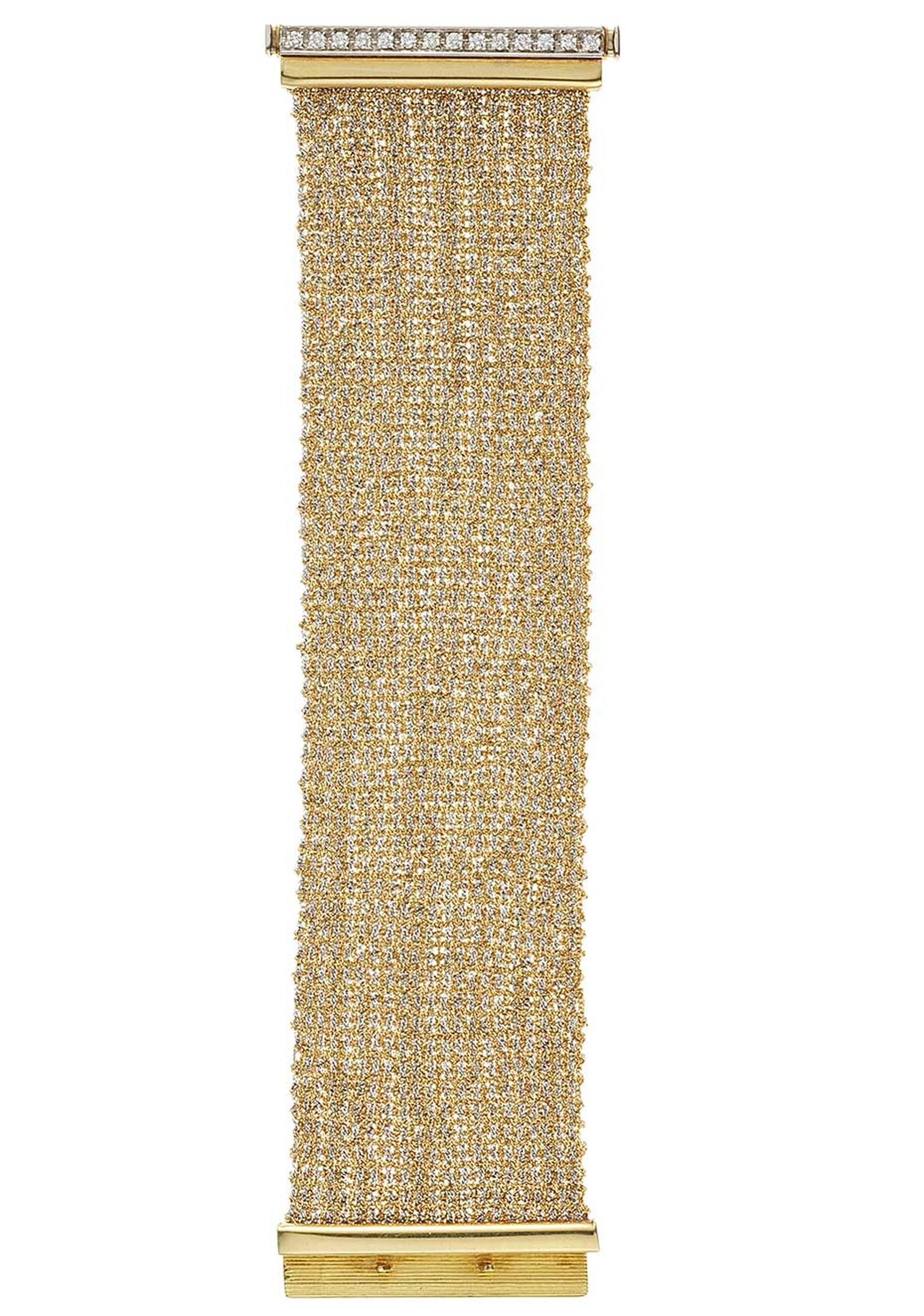 The woven gold Carolina Bucci bracelet was created using centuries-old weaving looms, resulting in incredibly supple woven gold, accentuated with diamonds (£8,815).