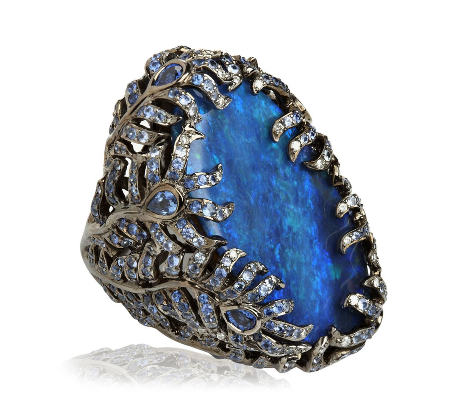 Wendy-Yue-Fantasie-18ct-white-gold--diamond-blue-sapphire-and-opal-Laguna-ring-By-Wendy-Yue-for-Annosuhka