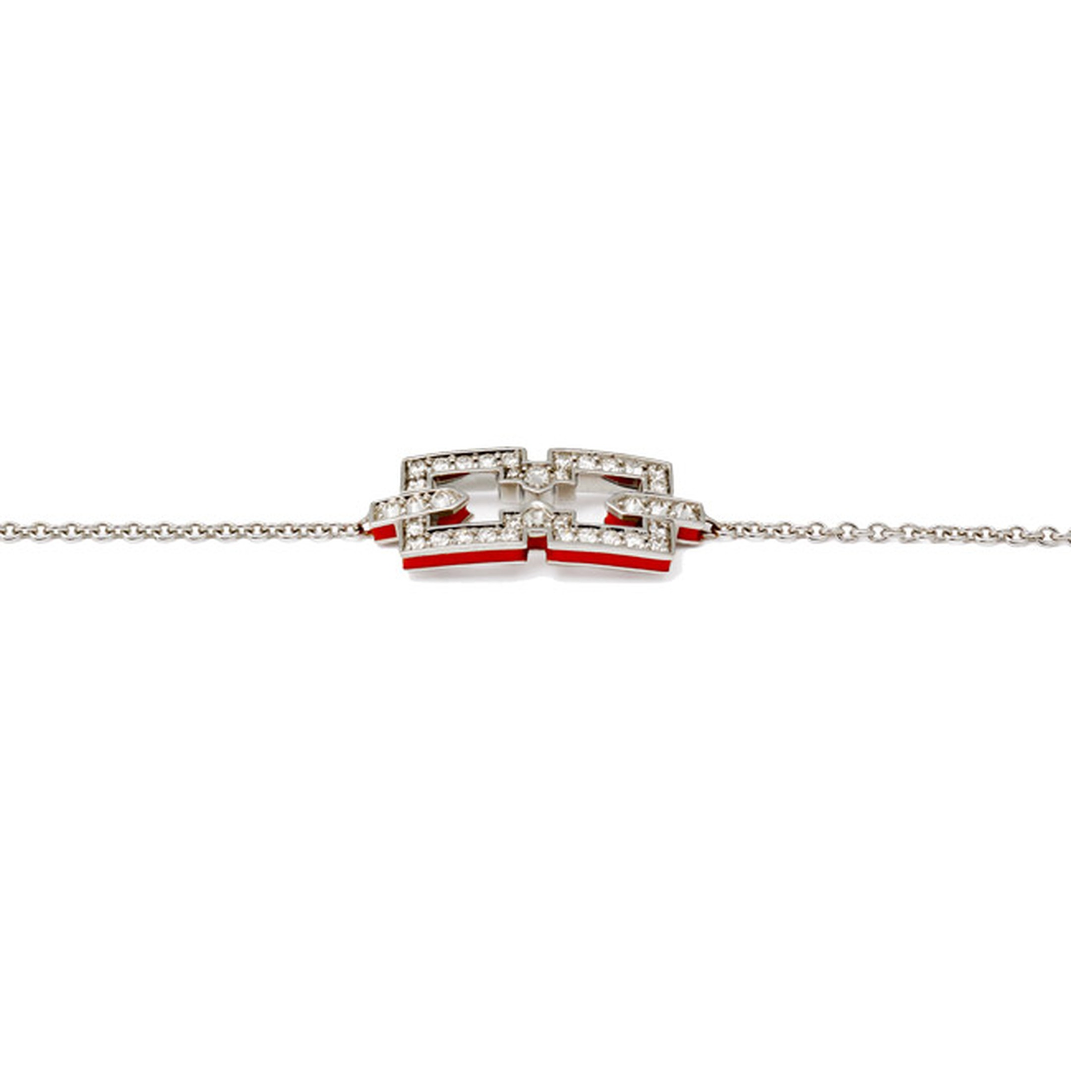 Raphaele Canot Skinny Deco bracelet in white gold with pavé white diamonds and a sliver of red enamel (£1,800).