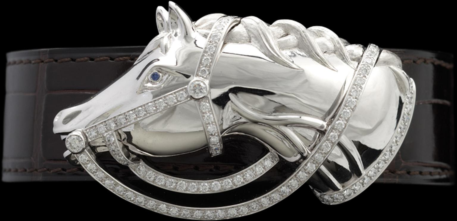 Ralph Lauren Horsehead bracelet featuring a horse head covered in diamond pavé and a sparkling sapphire eye (a little over budget at £11,000).