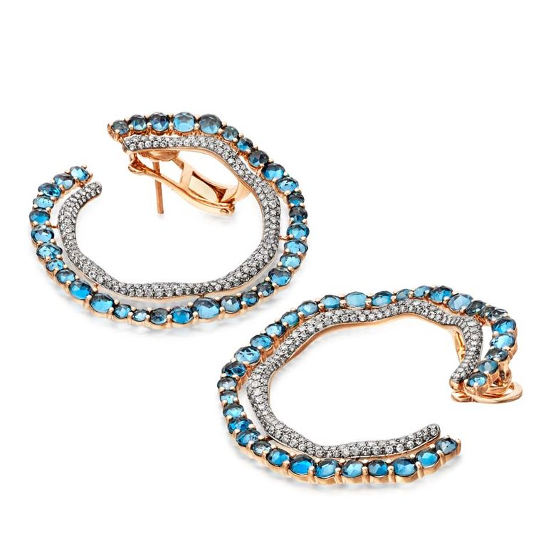 Astley Clarke Fao hoop earrings featuring London blue topaz and diamonds (£6,750).