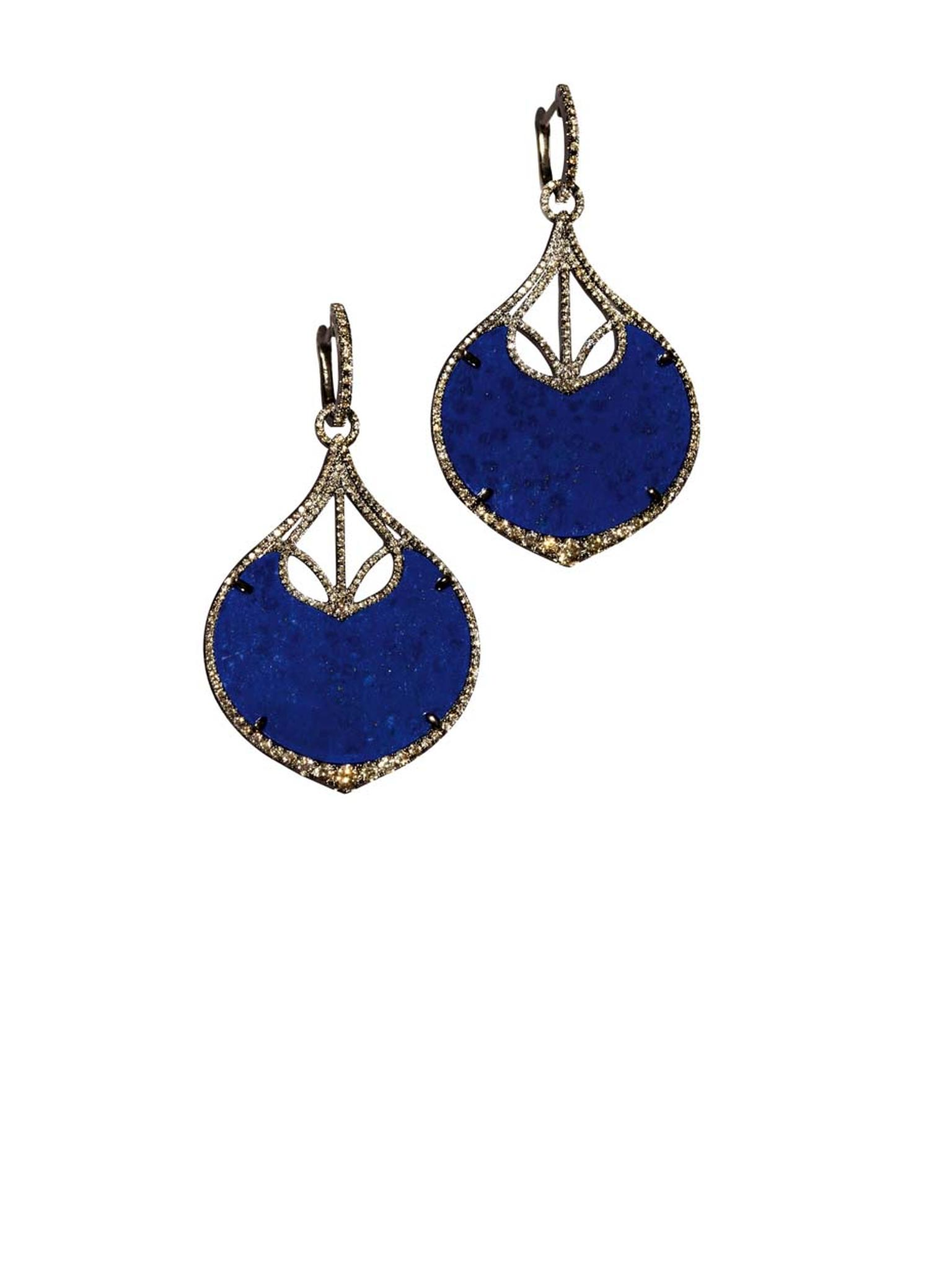 Annoushka Cloud Nine Nocturnal earrings with delicate diamonds set around voluptuous lapis lazuli drops (£6,900).