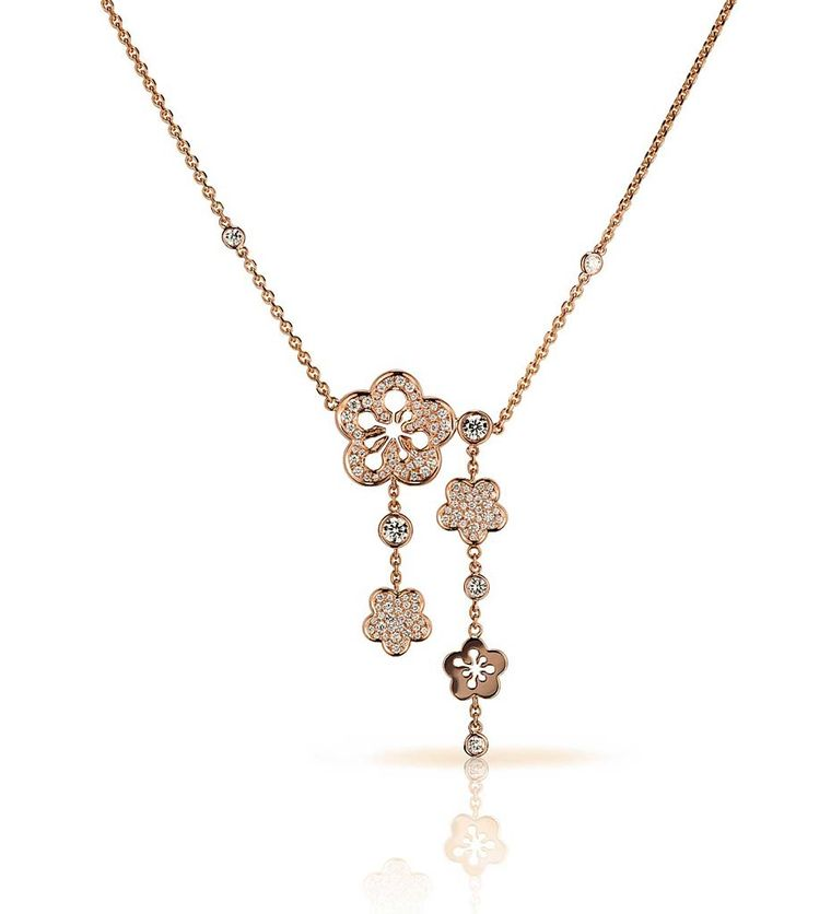 Boodles Blossom necklace in rose gold, set with round brilliant diamonds (£8,000).