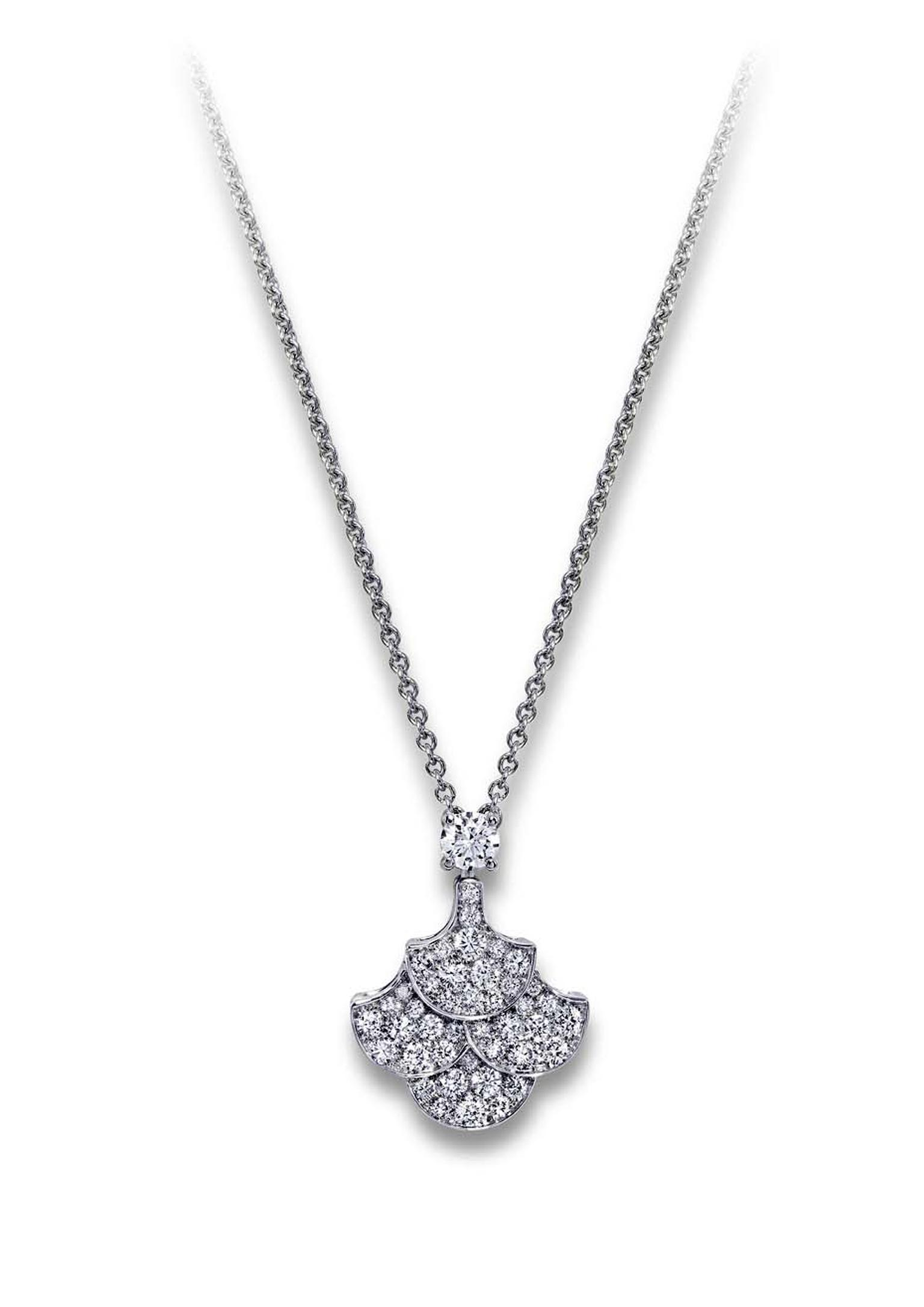 Graff Icon necklace in platinum with a pendant featuring four fan-shaped Graff Icons, covered in diamond pavé.